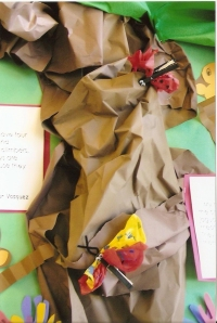 This is a close-up of the tissue paper butterflies that students made.