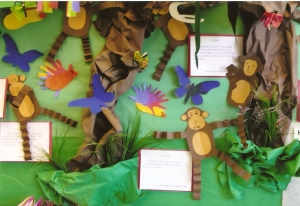 This was the back board within the classroom.  There were monkeys, hand/footprint birds and butterflies on display.  The writing is students rain forest reports.