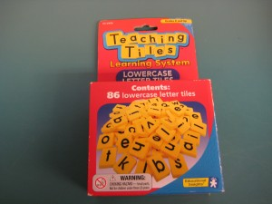 These are the letter tiles students use with the CVC cards.  I purchased these at a local school supply store four around $10.