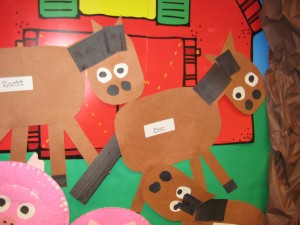 These are construction paper horses.  I love how each one is different!