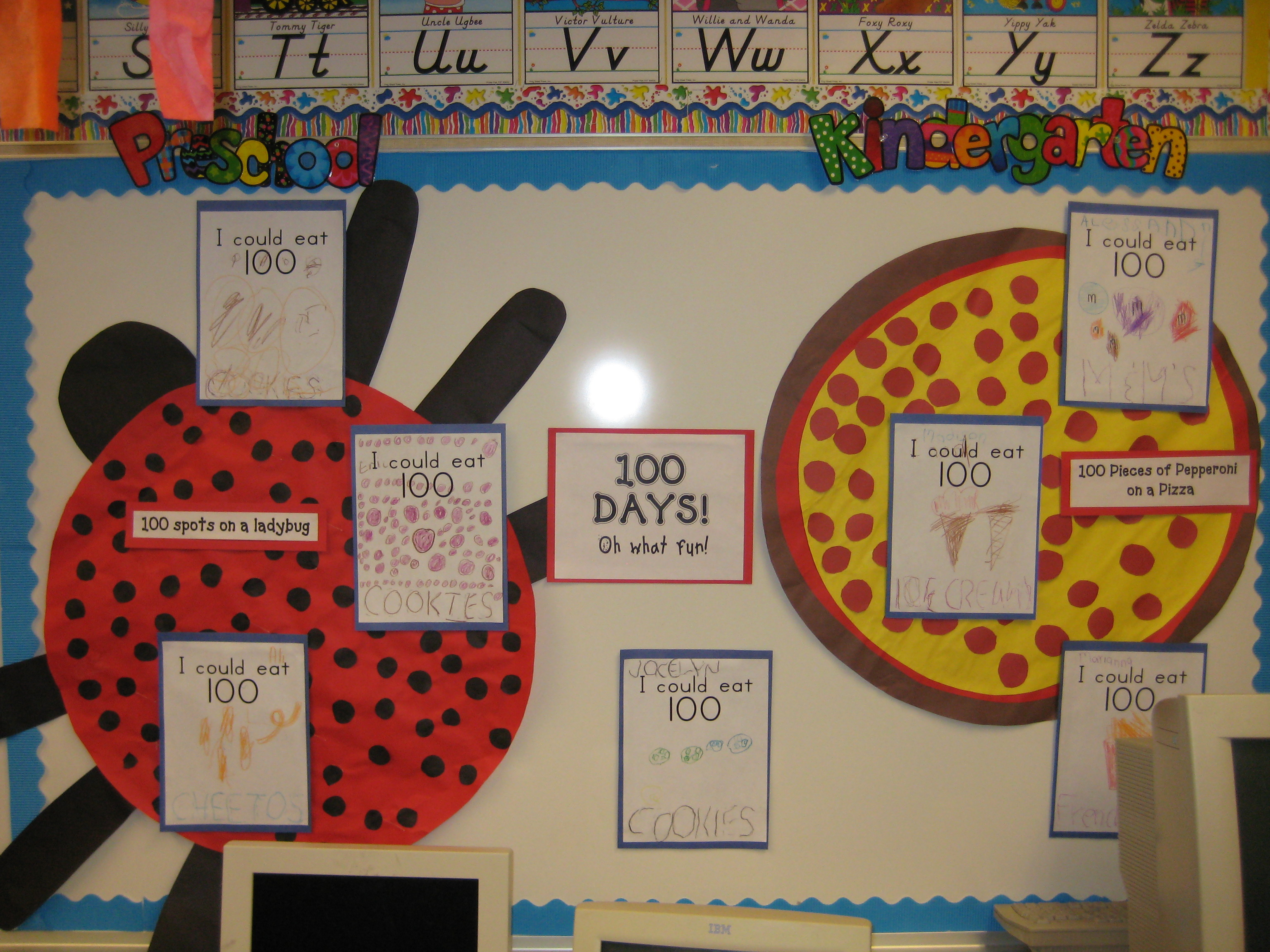 Open house 2009 mrs kilburn 39 s kiddos for 100th day of school decoration ideas