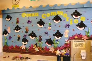 We made paper plate killer whales, handprint octopi & crabs and watercolored seahorses and starfish.