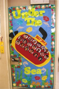 This was the door decoration, and I placed students' pictures inside of the portholes.