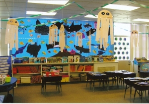 This was the view from the door from Open House 2005 when I taught first grade.  Students painted their own ocean animals and we also included torn paper art fish.