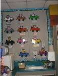 This was the cute DJ Inker Color Car board that I had above the sink