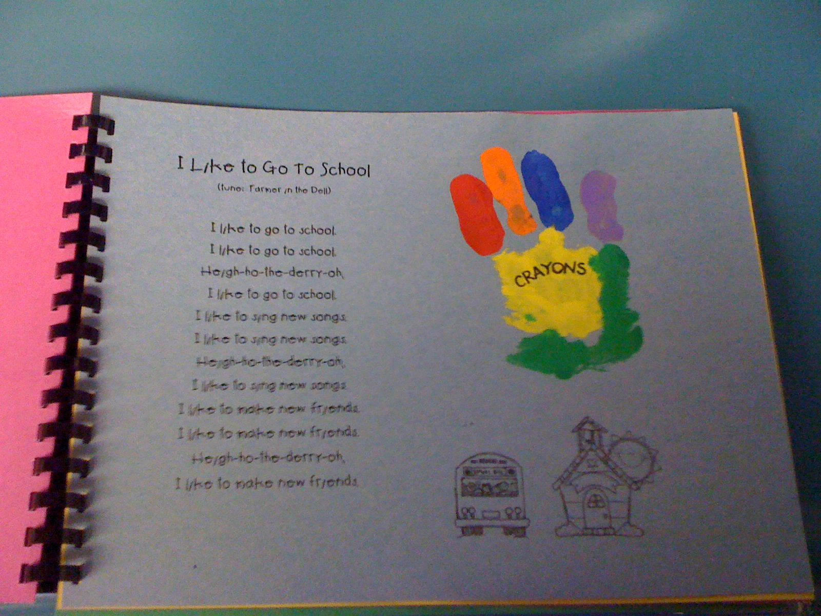 August handprint which is a crayon box paint the middle of the hand
