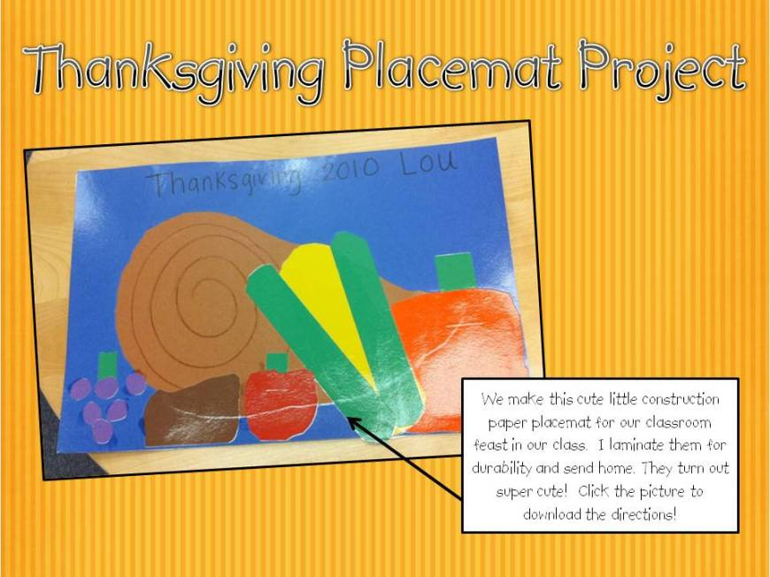 Thanksgiving Placemat Project