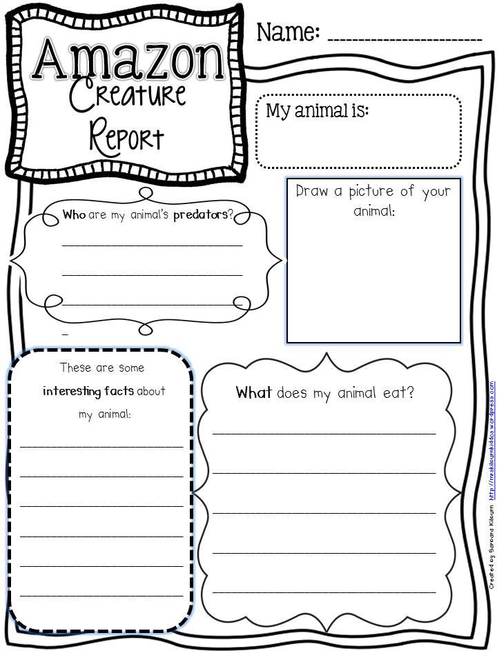 Creature report graphic organizer