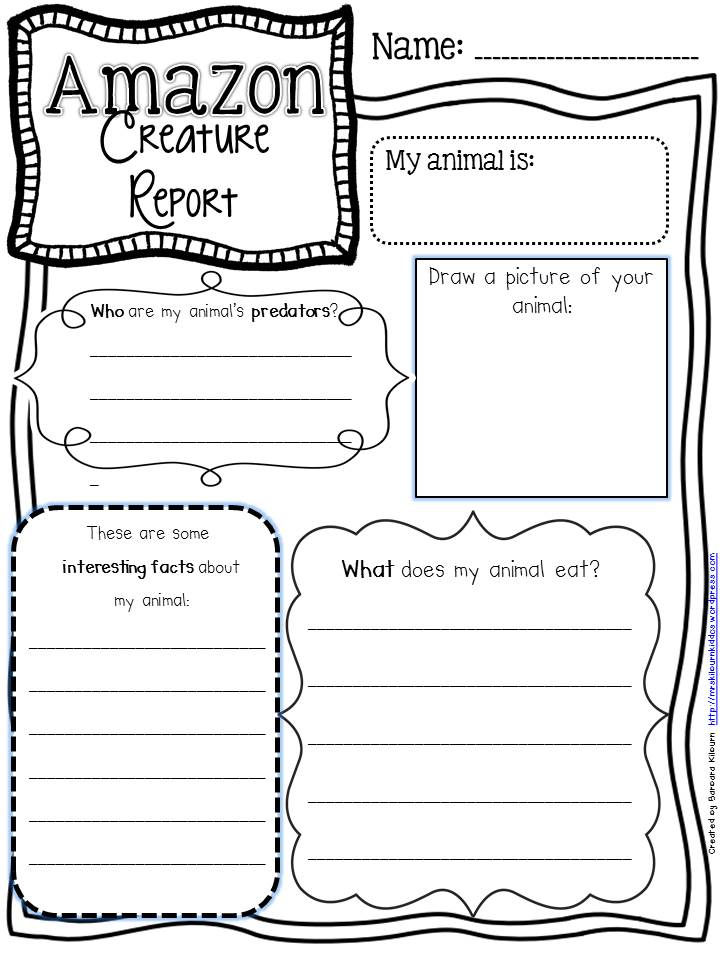 Creature report graphic organizer