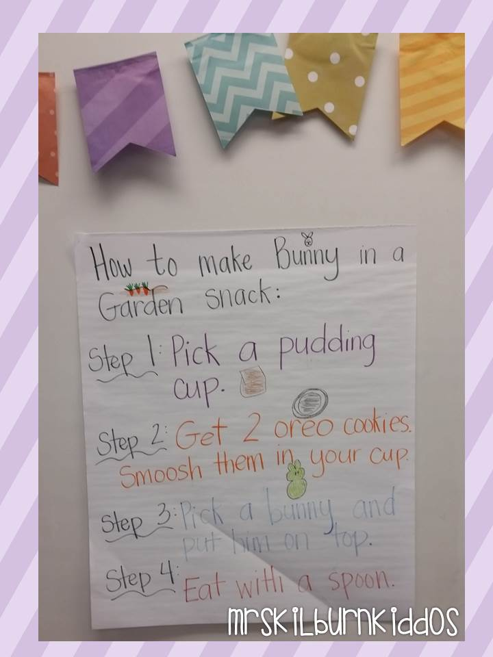 bunnies in a garden snack writing poster