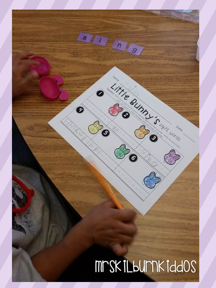 little bunny sight word center pic